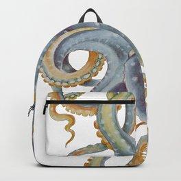Octopus Tentacles Steel Blue Watercolor Art Backpack