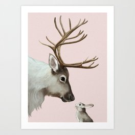 Reindeer and rabbit Art Print