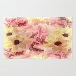 Soft Hazy Day Spring Floral Bouquet Rug
