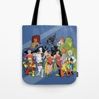 teen titans Tote Bags featuring Teen Titans by poopsmoothie