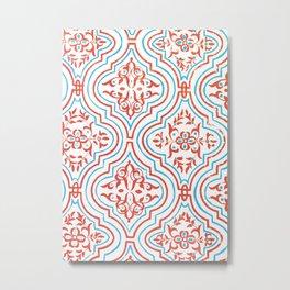 Oriental Pattern - Red Metal Print