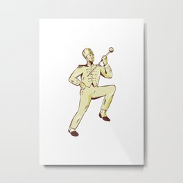 Drum Major Marching Band Leader Etching Metal Print