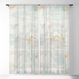 Marble - Cream & Blue Sheer Curtain