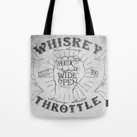 whiskey Tote Bags featuring Whiskey Throttle  by Kris Petrat Design :  Art Love Moto