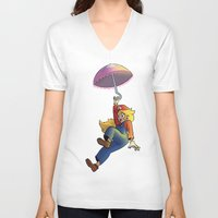 princess peach V-neck T-shirts featuring Princess Peach by Lisa Lynne Lumos