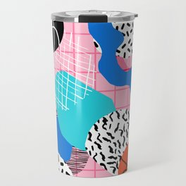 Hot Hand - memphis retro throwback neon grid pattern minimal modern pop art basketball sports Travel Mug