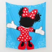 minnie Wall Tapestries featuring Minnie Mouse Paint Splat Magic Blue Background by Whimsy and Nonsense