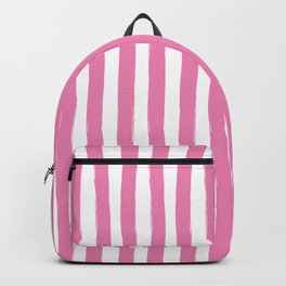Pink and White Cabana Stripes Palm Beach Preppy Backpack