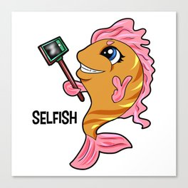 selfish fish selfie Stick present Clownfish gift Canvas Print