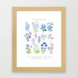 blue and purple flower collection watercolor Framed Art Print