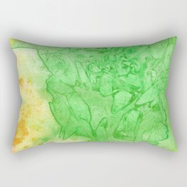 Stained Glass Green & Orange Rectangular Pillow