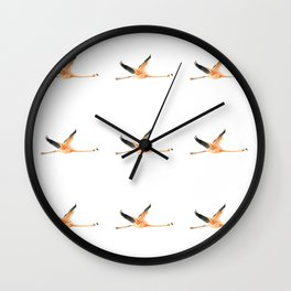 Flamingo in Flight Wall Clock