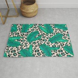 Trendy Tropical Banana Leaf Leopard Print Rug
