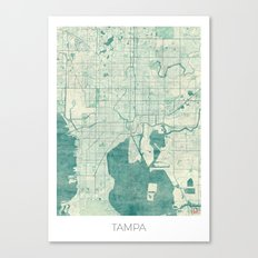 Tampa Map Blue Vintage Canvas Print