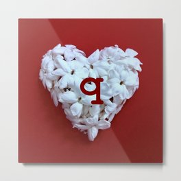 Red Monogrammed Heart Q Metal Print