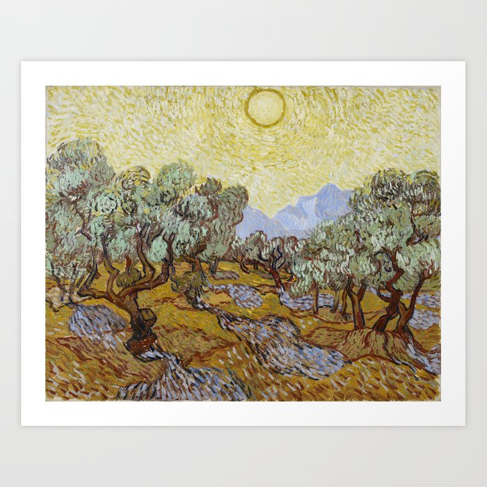 Vincent van Gogh - Olive Trees with Yellow Sky and Sun Kunstdrucke