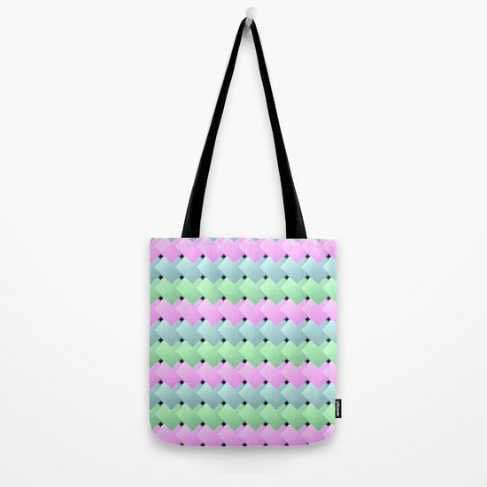 Overlapping Diagonal Square Pattern Tote Bag