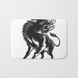 Angry Wild Hog Razorback Scratchboard Bath Mat