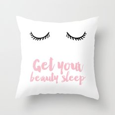 Beauty sleep Pink typography Throw Pillow