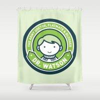 john green Shower Curtains featuring Cute John Watson - Green by mydeardear