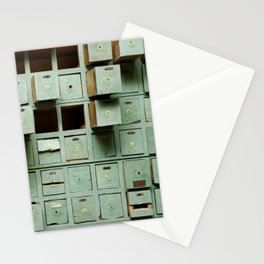 Old green wooden cabinet with drawers Stationery Cards