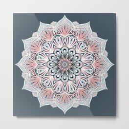 Expansion - boho mandala in soft salmon pink & blue Metal Print