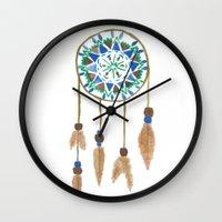 dream catcher Wall Clocks featuring Dream Catcher by Kayla G