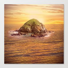 Island in the Ocean at Sunset Canvas Print