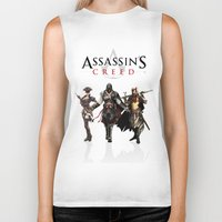 assassins creed Biker Tanks featuring Assassins Creed Attack by bivisual