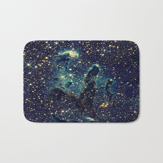GalaxY  Teal Blue & Gold Bath Mat