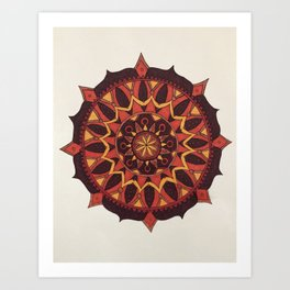 Red, Orange, and Gold Mandala Art Print