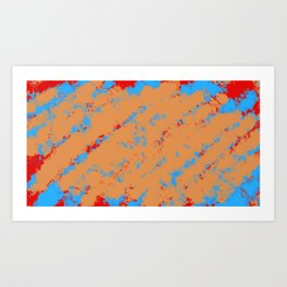 brown orange red and blue dirty painting background Art Print