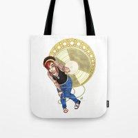 mucha Tote Bags featuring Mucha Music Fan by Adriana Blake