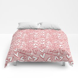 Love, Romance, Hearts - Red Pink White Comforters