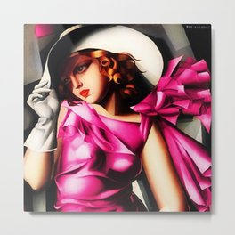Girl in a Pink Dress Haute Couture Art Deco portriat painting Tamara de Lempicka Art Print Metal Print