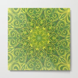 green center swirl mandala Metal Print