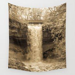 Minnehaha Falls - Sepia Wall Tapestry