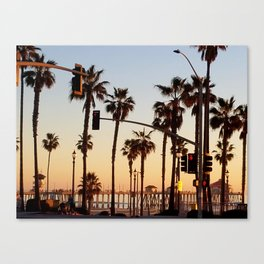 Huntington Beach Summer Sunset at the pier Canvas Print