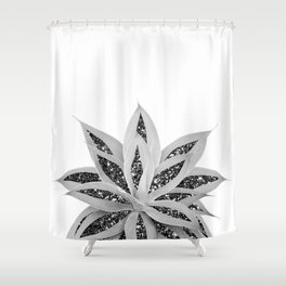 Gray Agave with Black Silver Glitter #1 #shiny #tropical #decor #art #society6 Shower Curtain