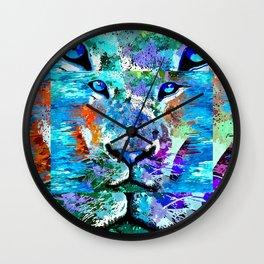 Wild Water Lion Wall Clock