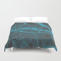 stockholm Duvet Covers featuring Stockholm Map by Map Map Maps