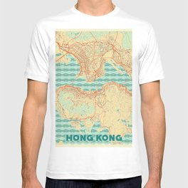 Hong Kong Map Retro T-shirt