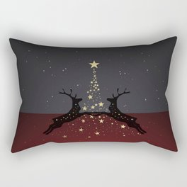 Champagne Gold Star Christmas Tree with Magical Reindeers - Shiny Red Rectangular Pillow