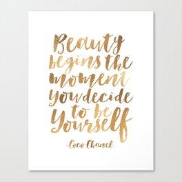 UOTE, Beauty Begins The Moment You Decide To Be Yourself,  Inspired, Print,Fashion Canvas Print