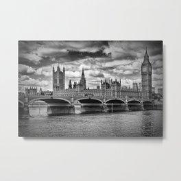 LONDON Houses of Parliament & Westminster Bridge Metal Print
