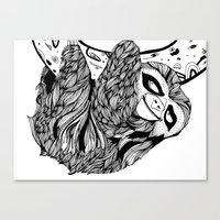 sloth Canvas Prints featuring Sloth  by Animaux Circus