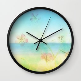 Dreamy Summer Beach Flowers Wall Clock