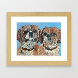 Shih Tzu Buddies Dog Portrait Framed Art Print