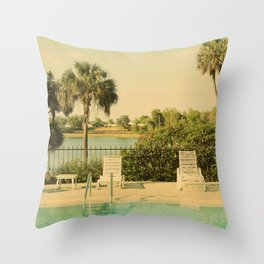 Lolita's Poolside Vacation - Beach Art Throw Pillow