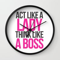 boss Wall Clocks featuring Boss by I Love Decor